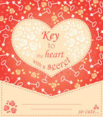 Cute design for greeting card with heart and roses and keys.  — Stock Vector