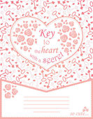 Cute design for greeting card with heart and roses, keys. — Stock Vector
