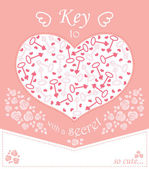 Cute design for greeting card with heart and roses keys.  — Stock Vector