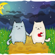 Cats under the moon — Stock Vector #9615283