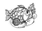 Fish dish with lemon — Stock Vector