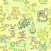 Alien Happy Cute Monsters Seamless Pattern — Stock Photo