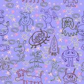 Alien Happy Cute Monsters Seamless Pattern Background - Illustra — Stock Vector