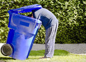 Blue Bin Man — Stock Photo