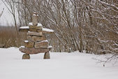 Winter Inukshuk — Stockfoto