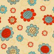 Cartoon flowers seamless pattern — ベクター素材ストック