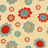 Cartoon flowers seamless pattern — Stock Vector