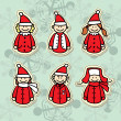 Stock Vector: Funny santa claus stickers