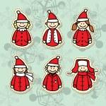 Funny santa claus stickers — Stock Vector