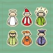 Funny icons of a policeman, a DJ, a teacher, a photographer, an angel and a little Santa — Stock Vector