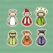 Funny icons of a policeman, a DJ, a teacher, a photographer, an angel and a little Santa — Stock Vector