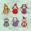 Stock Vector: Children in winter clothes icon