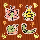 Childlike insect stickers — Stock Vector