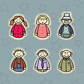 Happy family, three generations: Mom, Dad, Grandma, Grandpa and the kids — Stock Vector