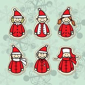 Funny santa claus stickers — Stock Vector