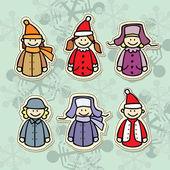 Children in winter clothes icon — Stock Vector