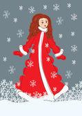 Santa girl vector illustration — Stock Vector