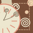 Chocolate background with round clock and arrows — Imagen vectorial