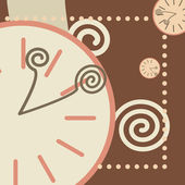 Chocolate background with round clock and arrows — Stockvector