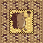 Greeting card with hedgehog — Stock Vector