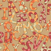 Funny dotted letters on brown background seamless pattern — Stockvektor