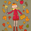 Cute cartoon lady happy with autumn  — Stock Vector