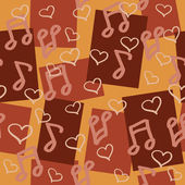 Dark chocolaty seamless pattern for music lovers — Stok Vektör