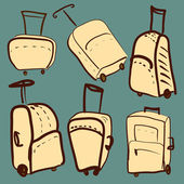 Set of colored suitcases vector illustration — Stock Vector