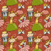 Cute childlike seamless pattern with little fairy, prince and pr — Stock Vector