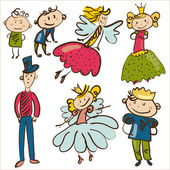 Little personages from magic kingdom isolated vector illustratio — Stock Vector