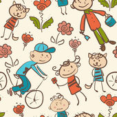 Kid's outdoor recreation seamless pattern — Vector de stock