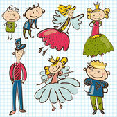 Little personages from magic kingdom — Stock Vector