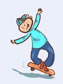 男孩骑滑板 — 图库矢量图片