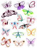 The outlines of butterflies — Stock Vector