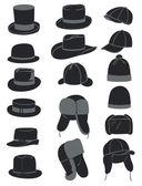 Men's hats — Stock Vector