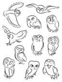 Set of owls — Stock Vector