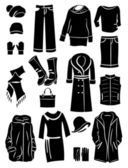 Winter clothing silhouettes — Stock Vector
