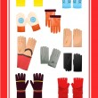 Gloves and mittens — Image vectorielle
