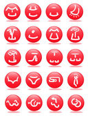 Clothing and accessories web icons — Vector de stock