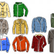 Stock Vector: Set of men's jackets