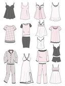 Pajamas and nighties — Stock Vector