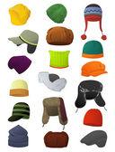 Male winter hats — Stock Vector