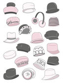 Set of female hats — Stock Vector