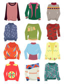 A set of women's sweaters — Stock Vector