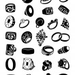 Set of silhouettes of rings — Stock Vector