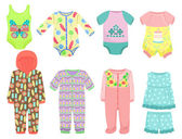 Clothes for little baby girls — Stock Vector