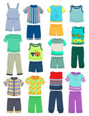 Summer clothes for little boys — Stock Vector