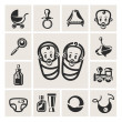 Stock Photo: Baby icons set