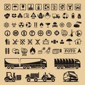Set di simboli di imballaggio — Vettoriale Stock