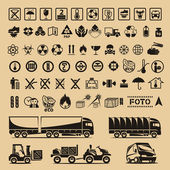 Set of packing symbols — Vettoriale Stock
